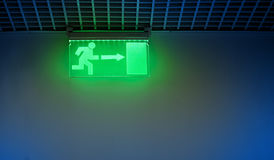 Exit sign. Close up with a green exit sign Royalty Free Stock Image