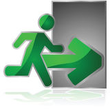 Exit sign. Glossy illustration showing an exit sign with a man running towards a door stock illustration