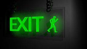 Exit sign. On black background Royalty Free Stock Image