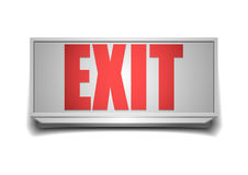Exit sign. Detailed illustration of a white exit sign with red letters Royalty Free Stock Photography