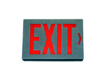 Exit sign. Shot of a building's exit sign v over white using a clipping path stock image