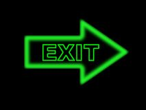 Exit sign. With a green neon arrow Royalty Free Stock Photos
