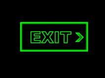 Exit sign. Green exit sign on black background Stock Photos
