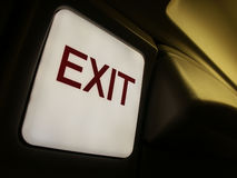 Exit Sign. An image of an exit sign in an aeroplane Royalty Free Stock Photography