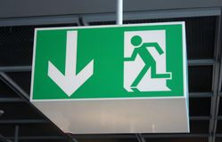 Exit Sign in an Airport Terminal Royalty Free Stock Photography