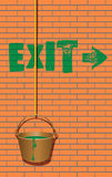 Exit sign and a bucket of paint Stock Image