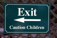 Exit sign. caution children sign. way out Stock Images
