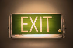 Exit sign or exit light board on the top of the door for identify safety way when find emergency case, safety device for identify Royalty Free Stock Image