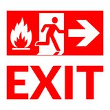 Exit sign fire. Exit sign. Emergency fire exit door and exit door. Red icon on white background. Safe condition symbol. Label with human figure and arrow. Vector Royalty Free Stock Photo