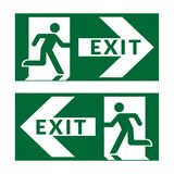 Exit sign green. Exit sign. Emergency fire exit door and exit door. Green icon on white background. Safe condition symbol. Label with human figure and arrow Stock Image