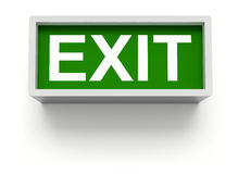 Exit sign. Green exit sign on white wall - 3D illustration stock illustration