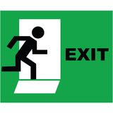 Exit sign icon. Emergency exit sign icon on green background Stock Photos
