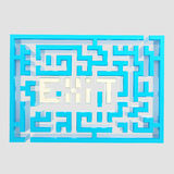 Exit sign icon as a labyrinth isolated. On grey Stock Photo