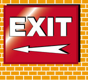 Exit sign illustration arrow left. Red exit sign on a brick wall illustration with an arrow pointing left Stock Photography