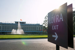 Exit sign at the Independence Palace in Ho Chi Minh City, Vietna Royalty Free Stock Photography