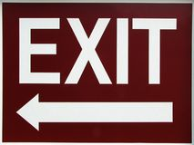 Exit Sign With Left Arrow. Exit sign with an arrow pointing left or you can make it right if you want Royalty Free Stock Photo