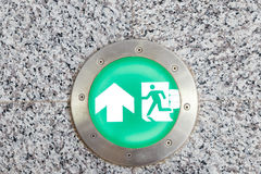 Exit sign and light to emergency door Royalty Free Stock Image