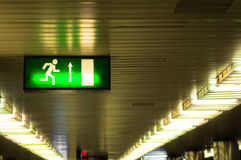 Exit sign in metro underground Stock Photo
