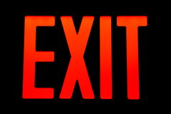 Exit Sign. Red exit sign with black background Stock Image