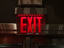 Exit sign red light neon. Exit sign red light led or neon stock photos
