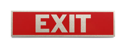 Exit Sign. Red Metal Exit Sign Isolated on a White Background Royalty Free Stock Photo