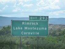 Exit sign Rimrock stock photos