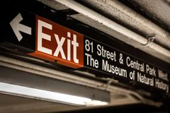 Exit sign at the 81st Street-Museum of Natural History Station on the Upper East Side of Manhattan, New York City.  royalty free stock images