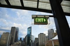 Exit sign, Sydney, Australia. Royalty Free Stock Photography
