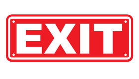 Exit sign or symbol. An image showing a directional sign on a red and white background, showing the word exit, indicating that the exit to a building or premises stock illustration