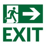 Exit sign green. Exit sign with text. Emergency fire exit door and exit door. Green icon on white background. Safe condition symbol. Label with human figure and Stock Photo