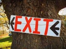 Exit Sign on Tree at Farm Royalty Free Stock Photos
