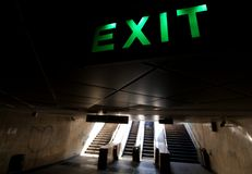 Exit sign - University Passage - downtown Bucharest royalty free stock photo