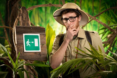 Exit sign in the wilderness Royalty Free Stock Images