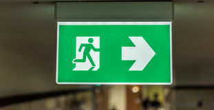 Exit signage light box sign. Light box exit signage at celling room Stock Photography