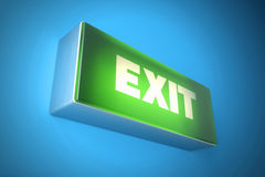Exit signboard light. Fire exit sign. 3d illustration Stock Photography