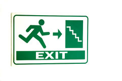 EXIT signs. Caution Fire Exit signs on white background Royalty Free Stock Images