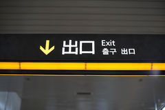 Exit signs found in many  places in japan Royalty Free Stock Photos