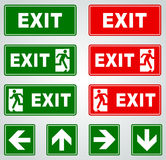 Exit signs. Illustration of red and green exit vector signs Stock Photography