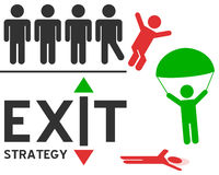Exit Strategy Concept. Ual illustration with man silhouettes. Useful also as success and failure metaphor. Eps file available royalty free illustration