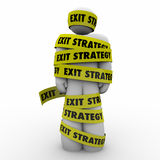 Exit Strategy Man Person Wrapped Caught Yellow Tape Escape Plan Stock Photo