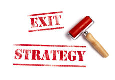 Exit strategy. Red ink with ink roller Royalty Free Stock Image