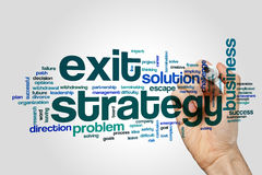 Exit strategy word cloud concept Stock Photo