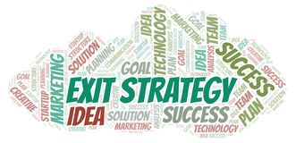 Exit Strategy word cloud. Wordcloud made with text only royalty free illustration