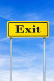 Exit street sign. Yellow street sign with Exit written on it Stock Photos