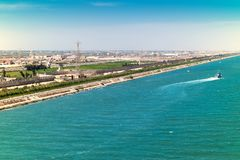 Exit from the Suez Canal into the Mediterranean along the port c Stock Photo