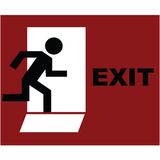 Exit symbol in red. Exit symbol over red background Stock Photo