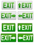 Exit symbols. Variety of exit signs isolated on white Stock Photos