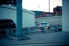 Exit from the third ring, cars in the iron jungle. royalty free stock photos
