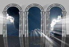 Exit to freedom. Conceptual image, arcs to sky, way to heaven, exit to freedom. Many metaphorical uses royalty free illustration