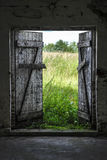 Exit to Green Meadow. Open wood door in abandoned house. Green sunny meadow outside stock photo